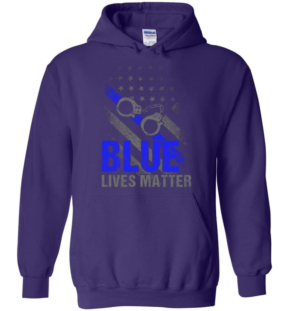 Blue Lives Matter Shirt Support Police Shirts Blue Line Flag - Hoodie - Purple / M