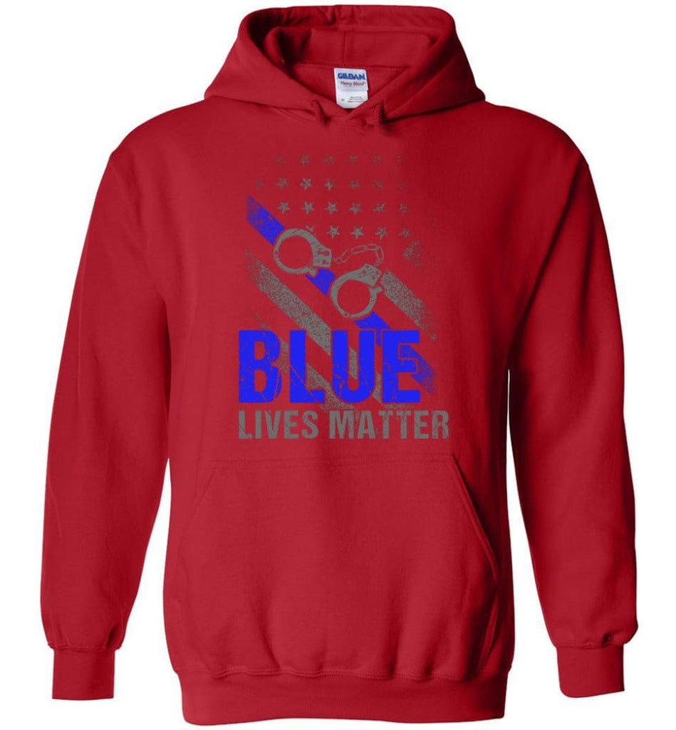 Blue Lives Matter Shirt Support Police Shirts Blue Line Flag - Hoodie - Red / M