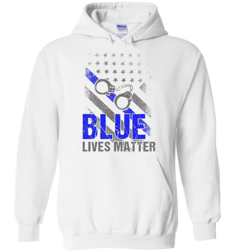 Blue Lives Matter Shirt Support Police Shirts Blue Line Flag - Hoodie - White / M