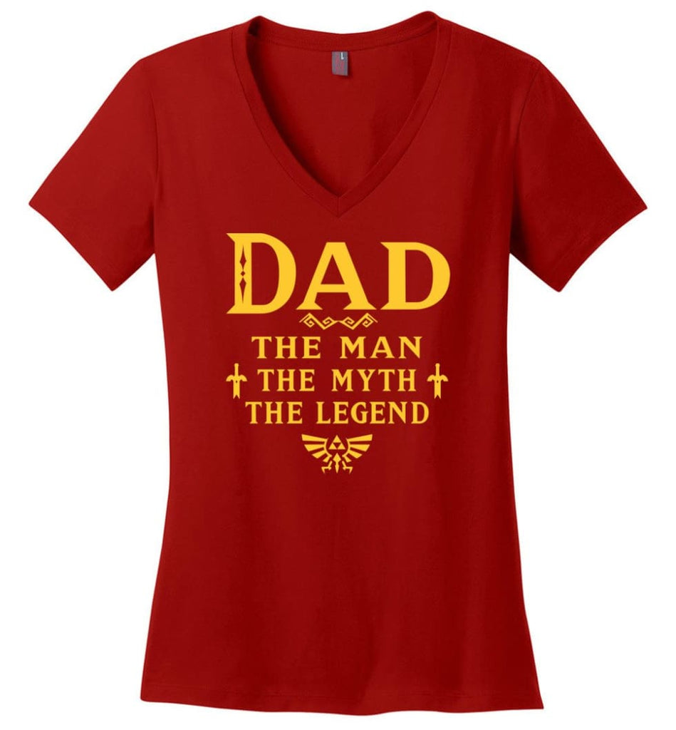 Called Papa Shirt Top Best Shirt For Farther's Day Ladies V-Neck - Red / M