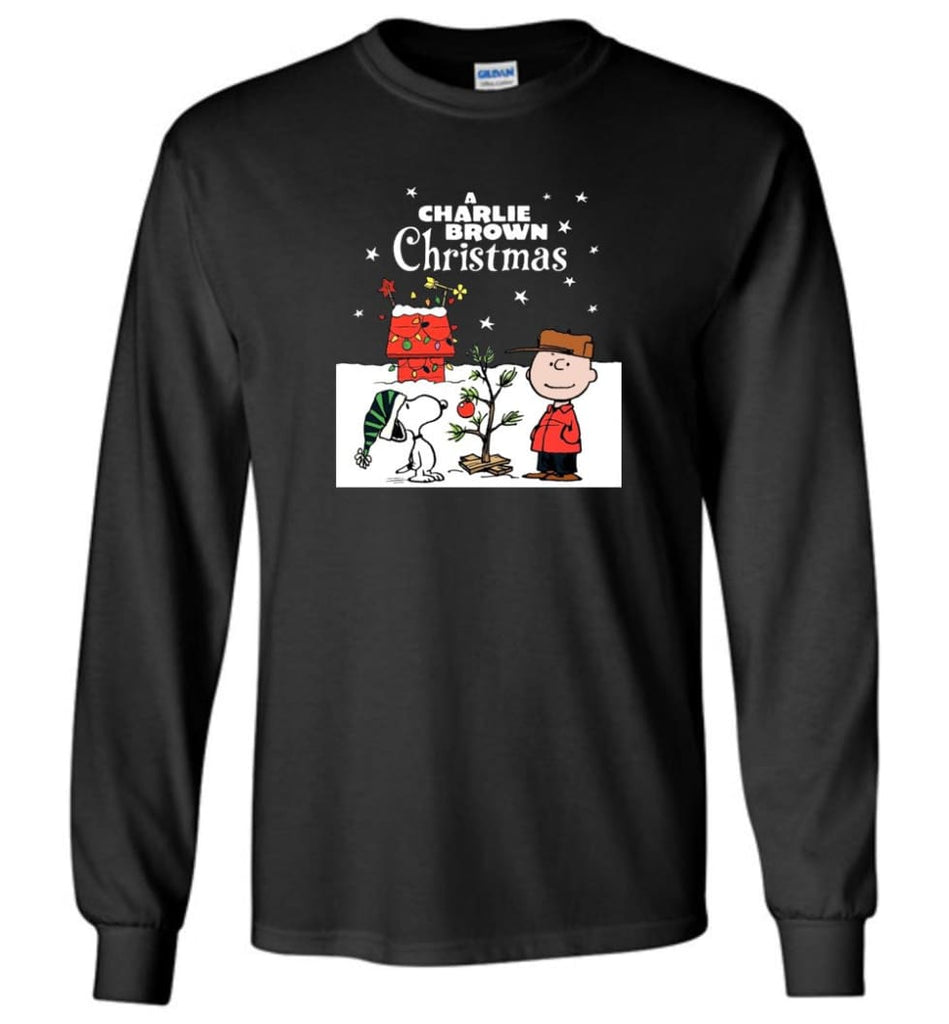 Charlie Brown Christmas Sweatshirt Hoodie Peanuts Snoopy Xmas Gifts - Long Sleeve T-Shirt - Black / M