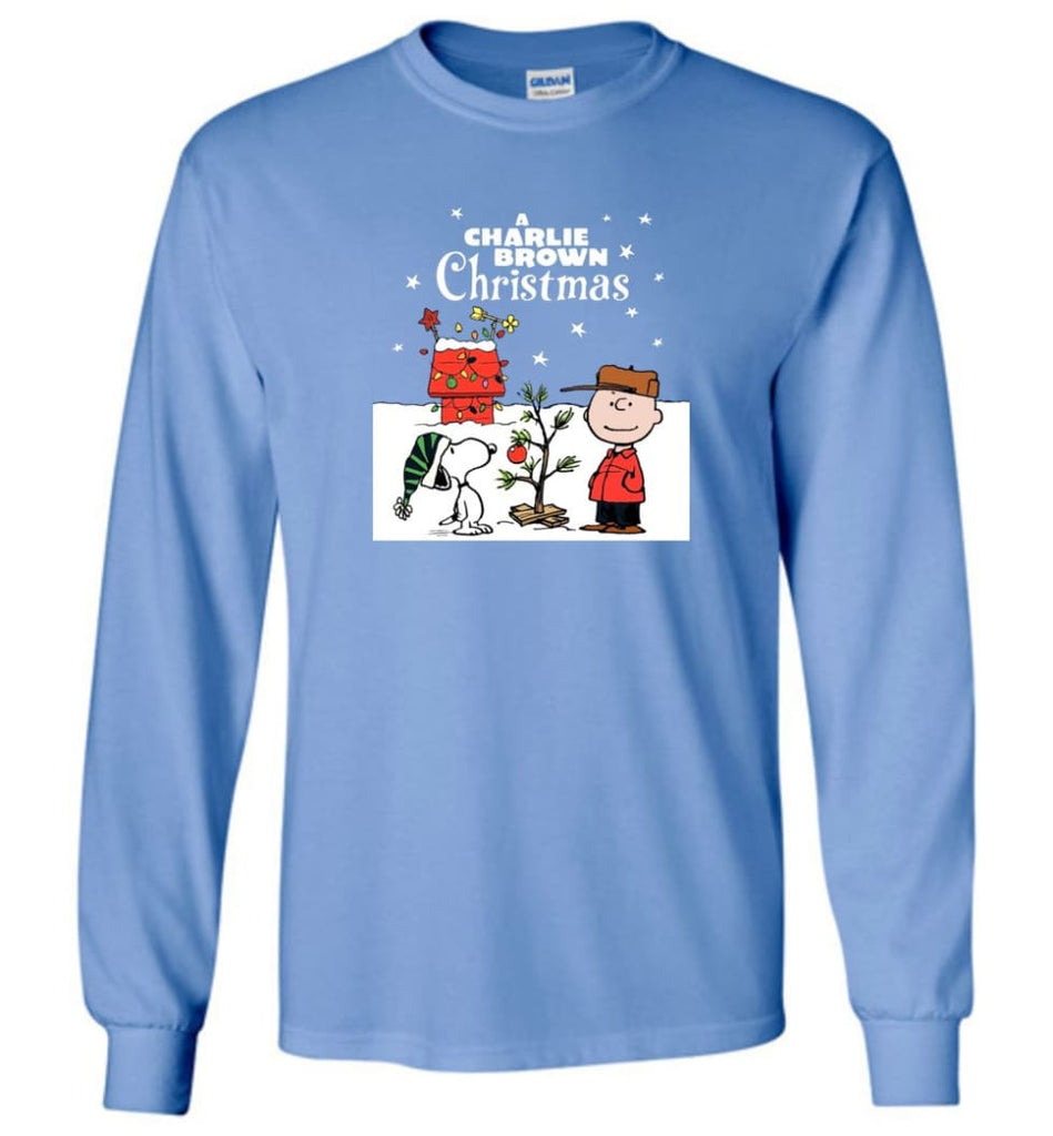 Charlie Brown Christmas Sweatshirt Hoodie Peanuts Snoopy Xmas Gifts - Long Sleeve T-Shirt - Carolina Blue / M