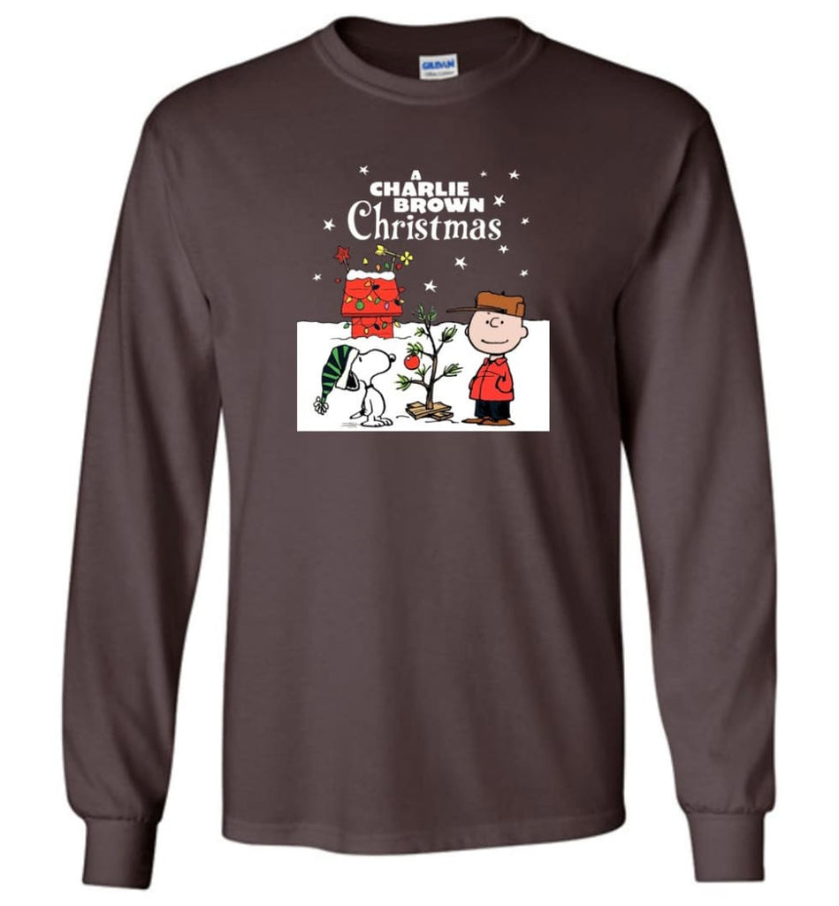 Charlie Brown Christmas Sweatshirt Hoodie Peanuts Snoopy Xmas Gifts - Long Sleeve T-Shirt - Dark Chocolate / M