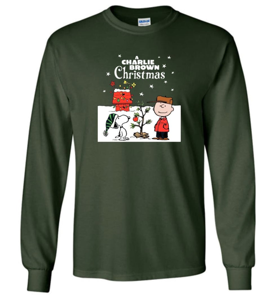 Charlie Brown Christmas Sweatshirt Hoodie Peanuts Snoopy Xmas Gifts - Long Sleeve T-Shirt - Forest Green / M