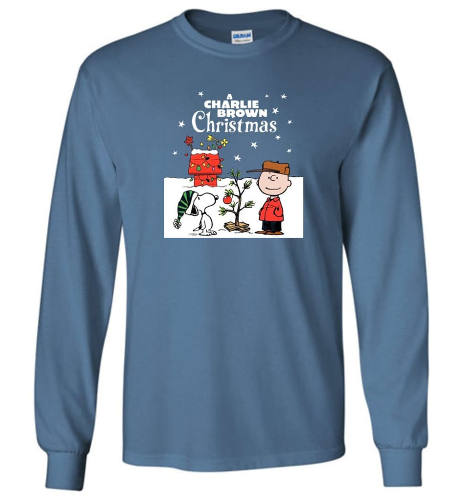 Charlie Brown Christmas Sweatshirt Hoodie Peanuts Snoopy Xmas Gifts - Long Sleeve T-Shirt - Indigo Blue / M