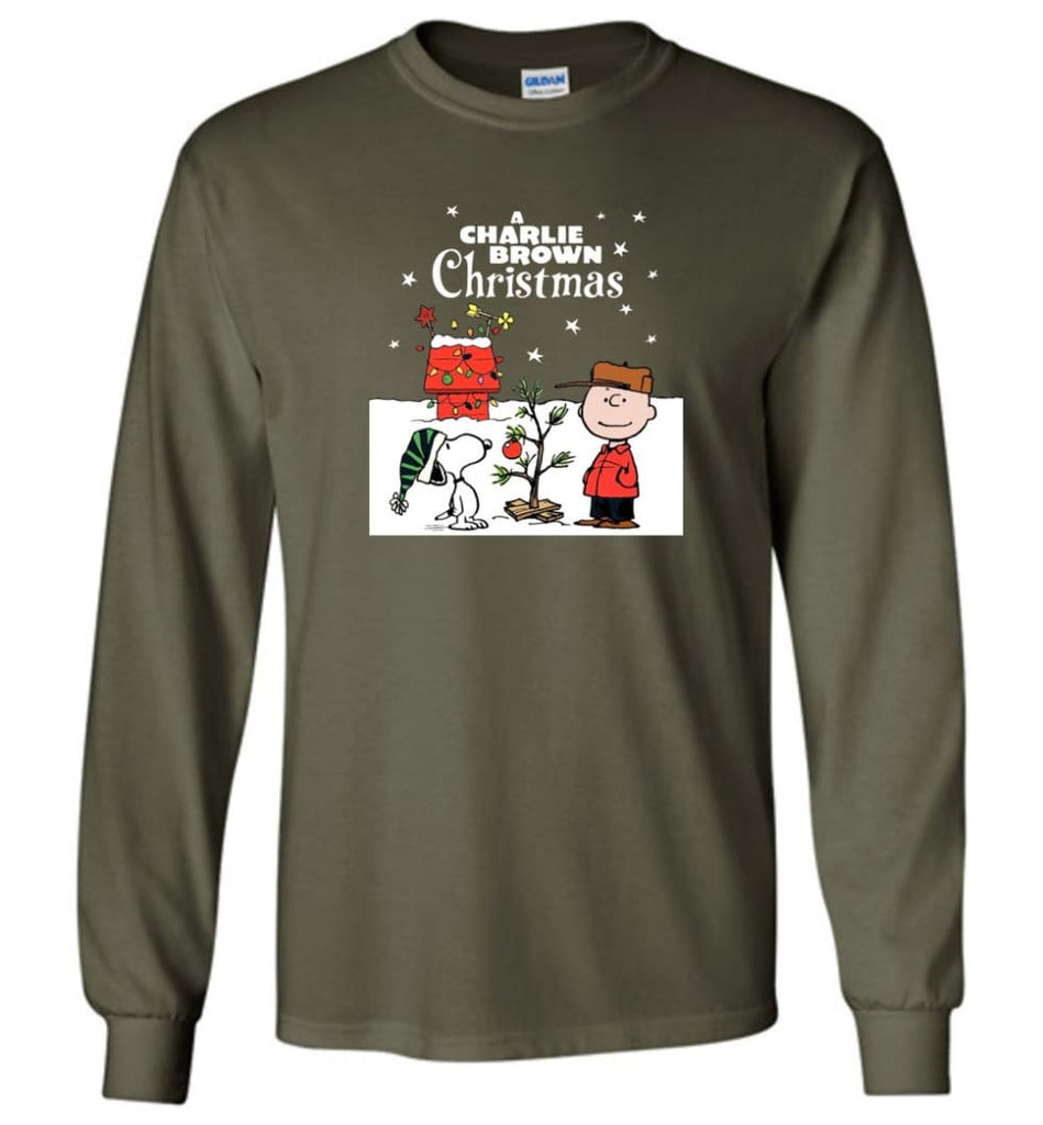 Charlie Brown Christmas Sweatshirt Hoodie Peanuts Snoopy Xmas Gifts - Long Sleeve T-Shirt - Military Green / M