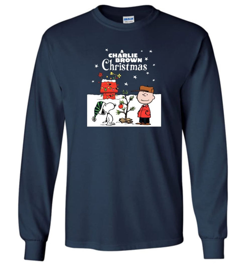 Charlie Brown Christmas Sweatshirt Hoodie Peanuts Snoopy Xmas Gifts - Long Sleeve T-Shirt - Navy / M