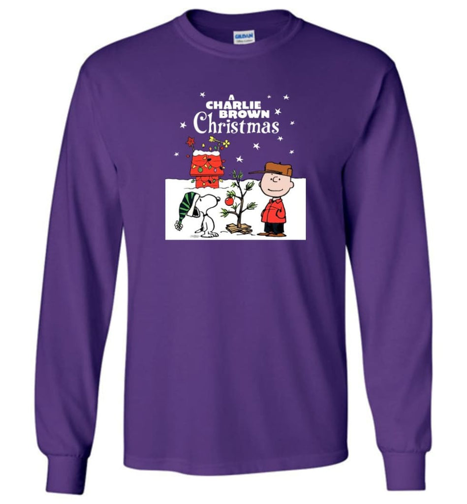 Charlie Brown Christmas Sweatshirt Hoodie Peanuts Snoopy Xmas Gifts - Long Sleeve T-Shirt - Purple / M
