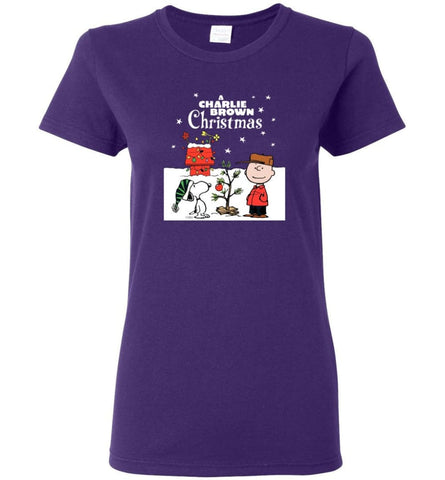 Charlie Brown Christmas Sweatshirt Hoodie Peanuts Snoopy Xmas Gifts Women T-Shirt - Purple / M