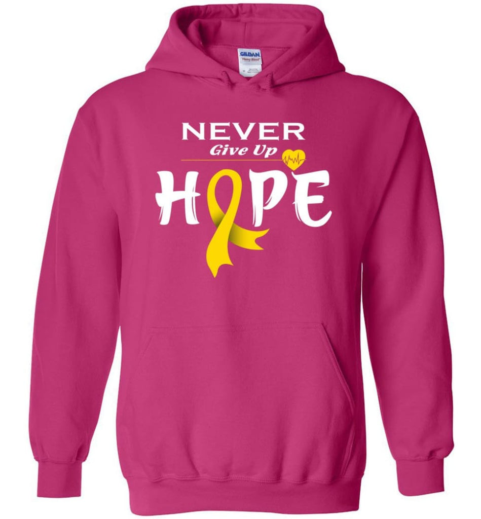 Chilhood Cancer Awareness Never Give Up Hope Hoodie - Heliconia / M