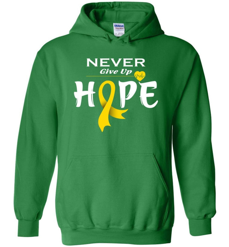 Chilhood Cancer Awareness Never Give Up Hope Hoodie - Irish Green / M