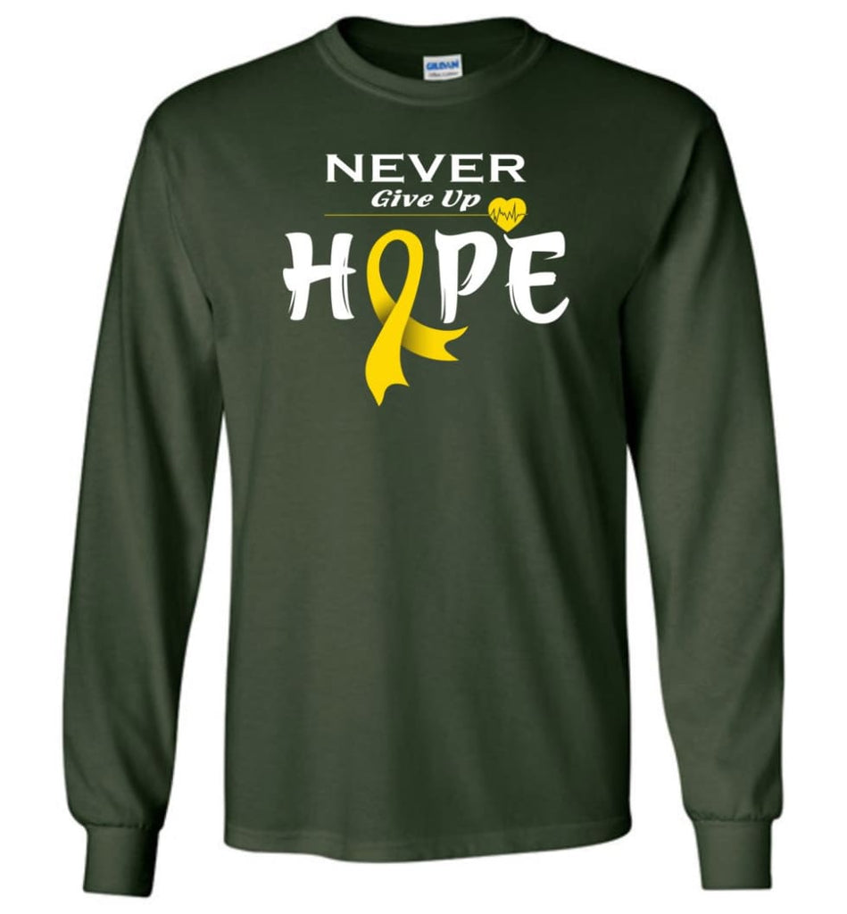 Chilhood Cancer Awareness Never Give Up Hope Long Sleeve T-Shirt - Forest Green / M