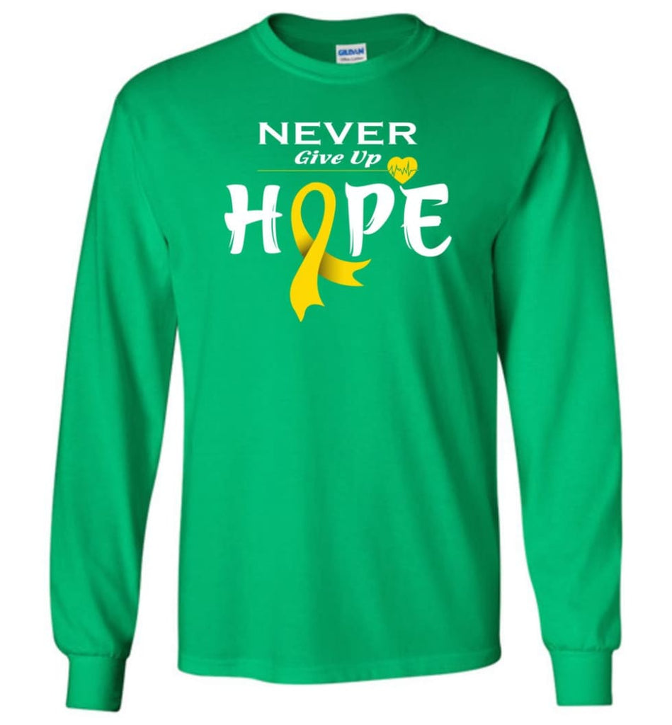 Chilhood Cancer Awareness Never Give Up Hope Long Sleeve T-Shirt - Irish Green / M