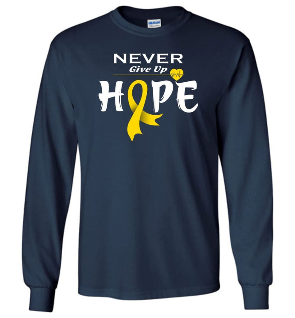 Chilhood Cancer Awareness Never Give Up Hope Long Sleeve T-Shirt - Navy / M