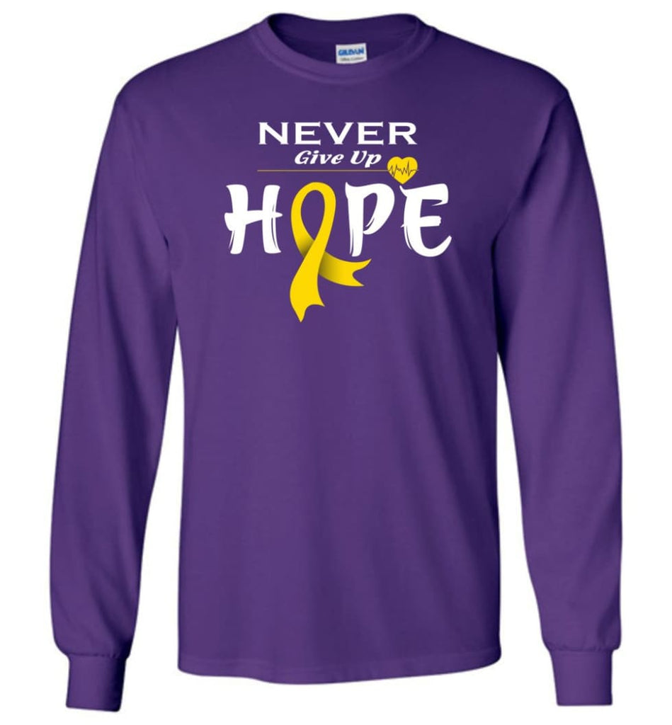 Chilhood Cancer Awareness Never Give Up Hope Long Sleeve T-Shirt - Purple / M
