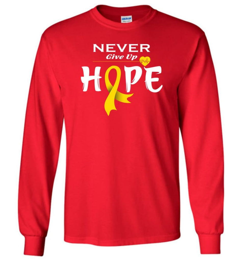 Chilhood Cancer Awareness Never Give Up Hope Long Sleeve T-Shirt - Red / M