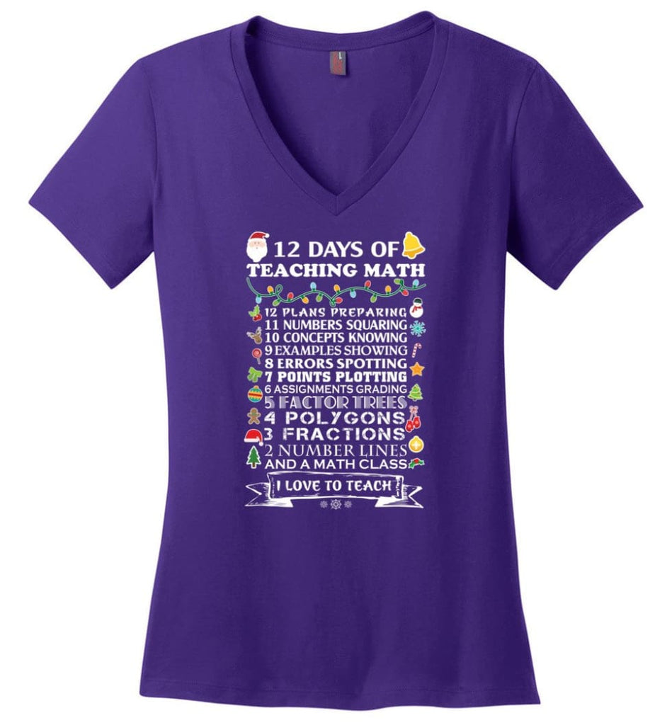 Christmas Gifts For Math Teachers 12 Days of Teaching Math Ladies V-Neck - Purple / M