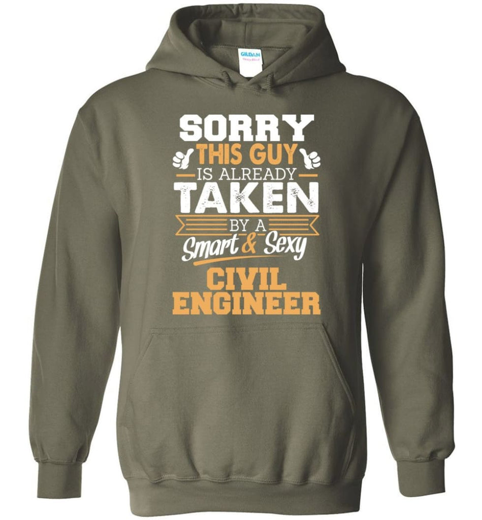 Civil Engineer Shirt Cool Gift for Boyfriend Husband or Lover - Hoodie - Military Green / M