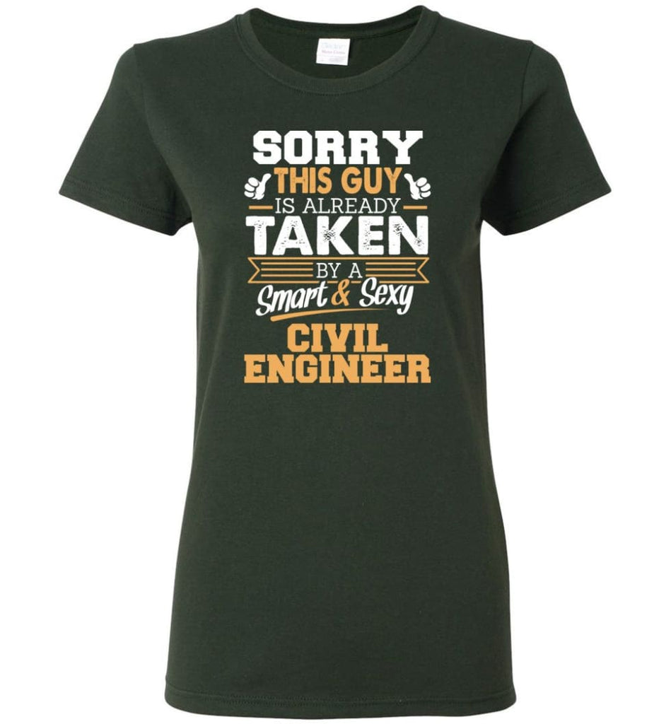 Civil Engineer Shirt Cool Gift for Boyfriend Husband or Lover Women Tee - Forest Green / M - 6