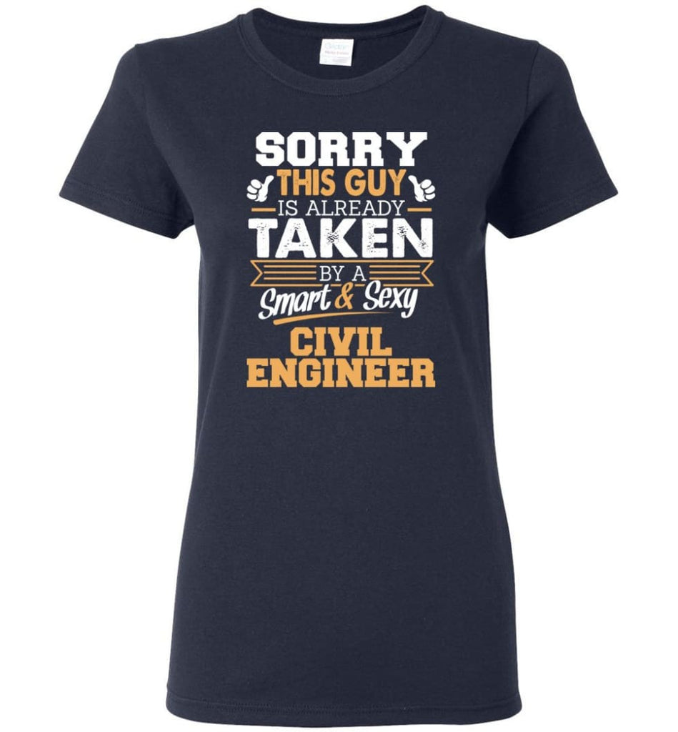 Civil Engineer Shirt Cool Gift for Boyfriend Husband or Lover Women Tee - Navy / M - 6