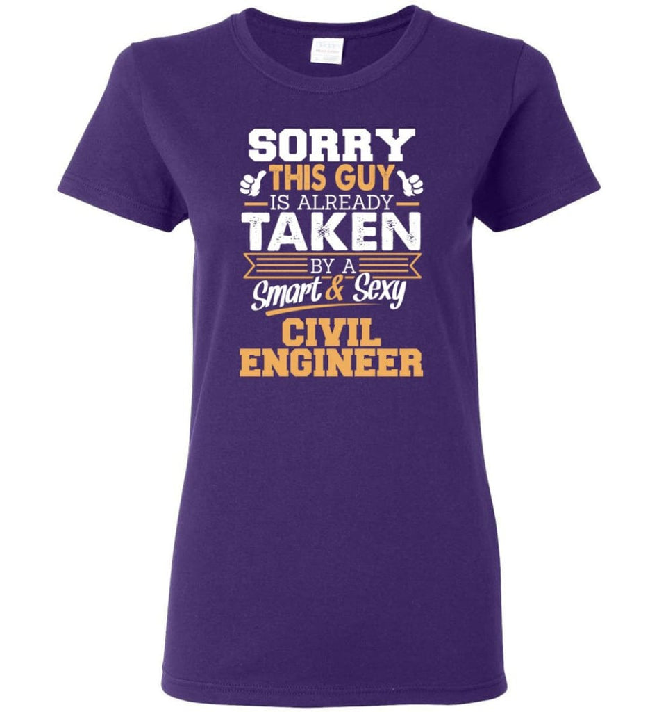 Civil Engineer Shirt Cool Gift for Boyfriend Husband or Lover Women Tee - Purple / M - 6