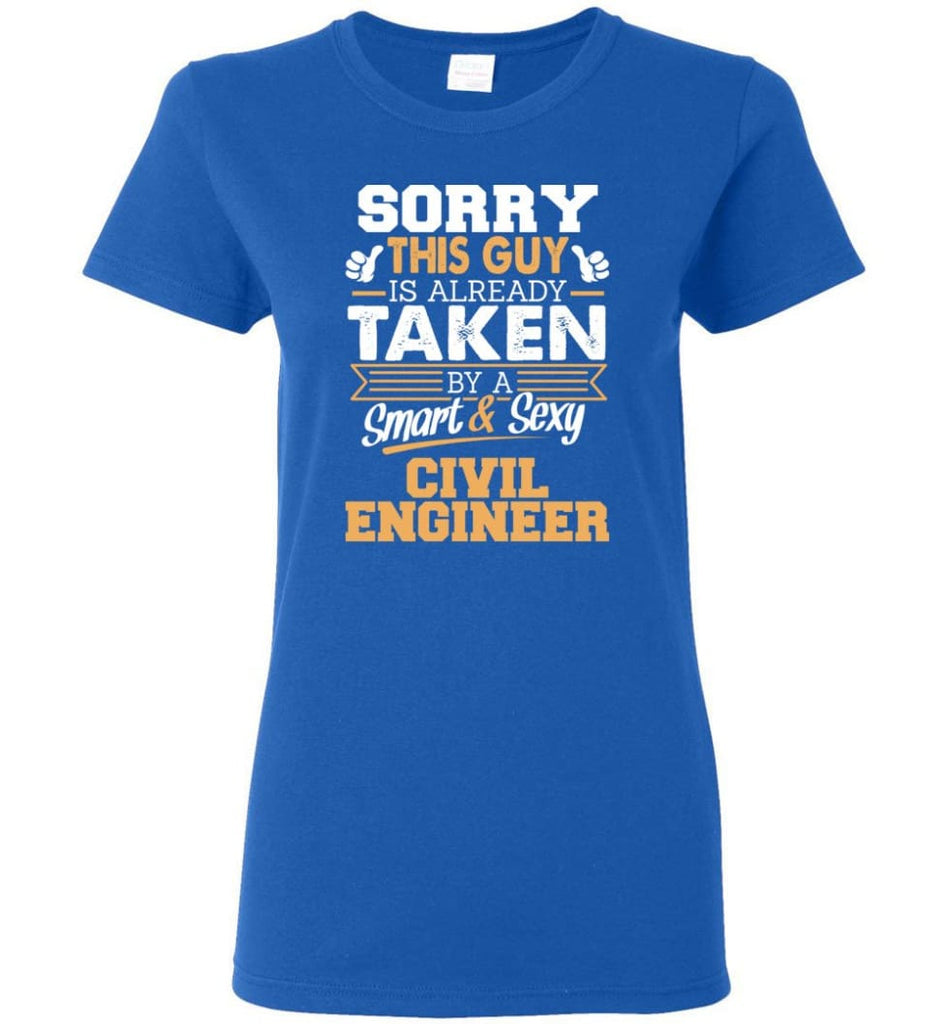 Civil Engineer Shirt Cool Gift for Boyfriend Husband or Lover Women Tee - Royal / M - 6