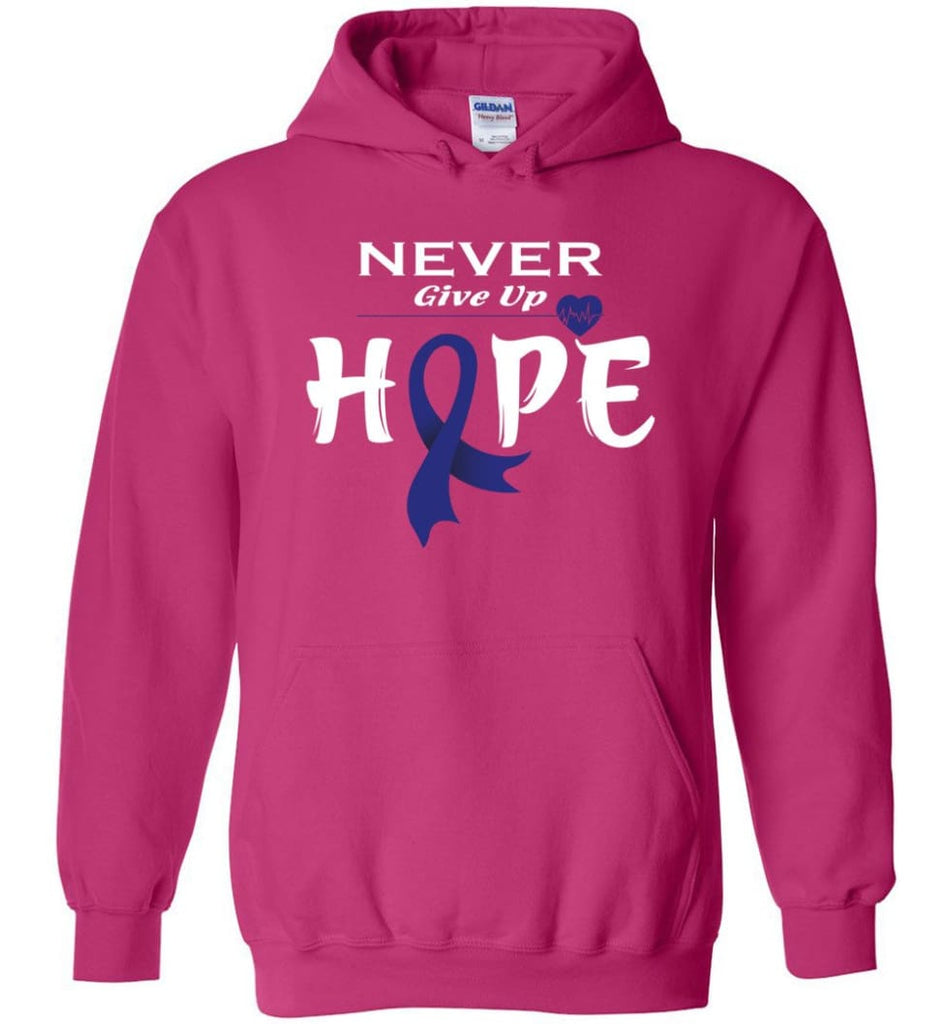 Colon Cancer Awareness Never Give Up Hope Hoodie - Heliconia / M