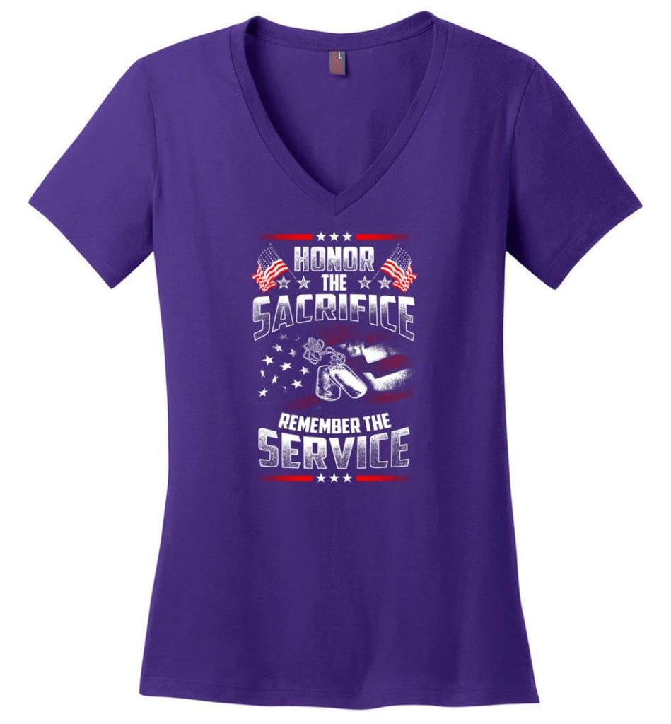 Combat Veteran Desert Storm Veteran T Shirt Ladies V-Neck - Purple / M