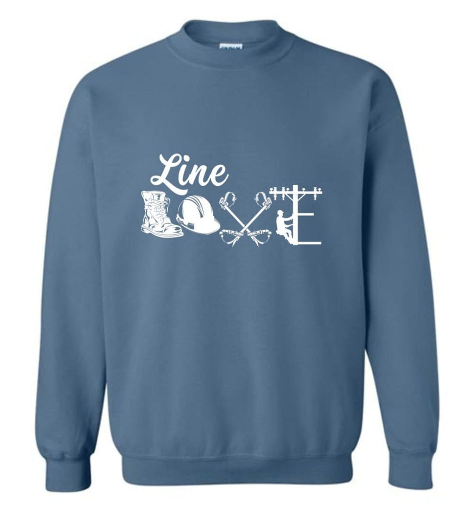 Cool Lineman Shirts Best Lineman Gift Lineman Long Sleeve Shirts Sweatshirt - Indigo Blue / M