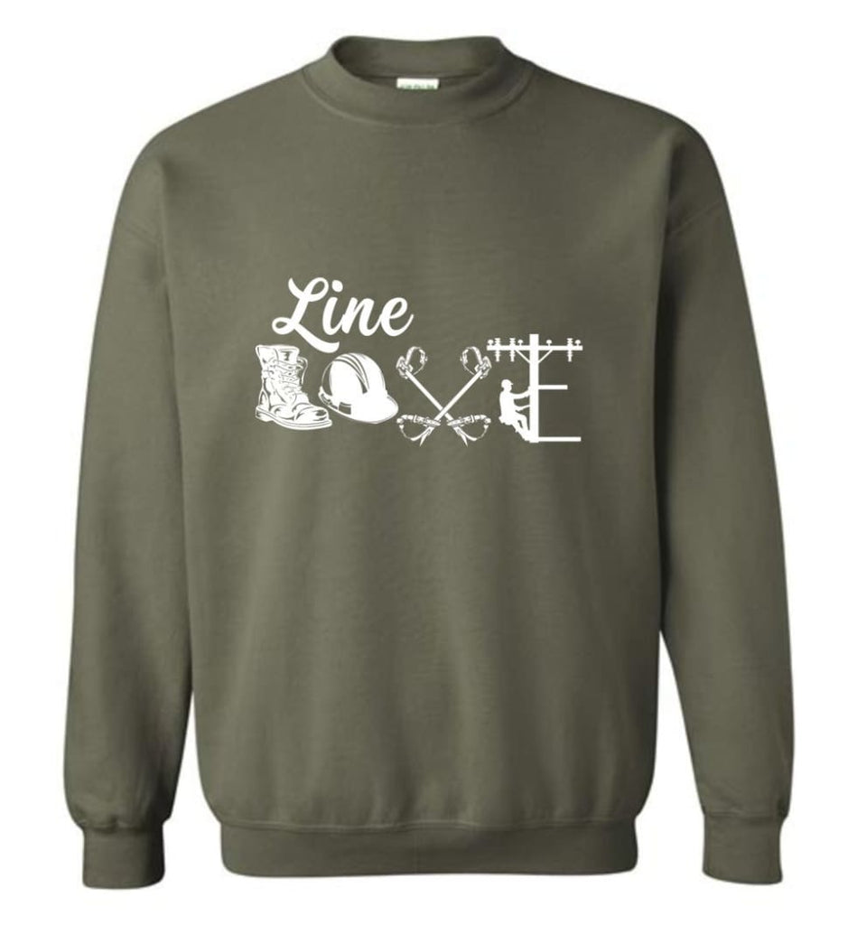 Cool Lineman Shirts Best Lineman Gift Lineman Long Sleeve Shirts Sweatshirt - Military Green / M