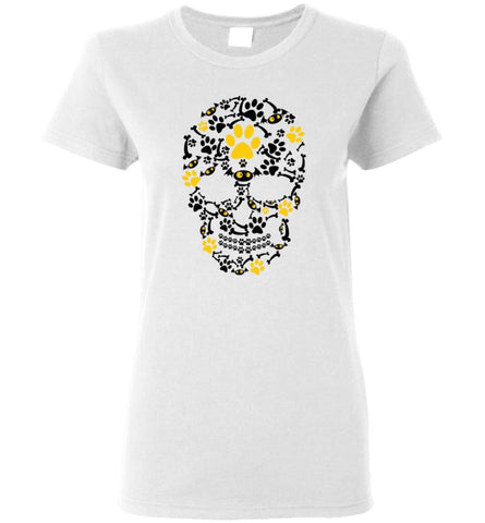 Crazy Cool Pumpkin Dog Paw Face Scary Halloween Skull - Women Tee - White / M - Women Tee