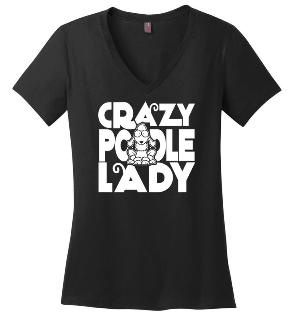 Crazy Poodle Lady Sweater Funny Dog Poodle sweatshirt for Women - Ladies V-Neck - Black / M