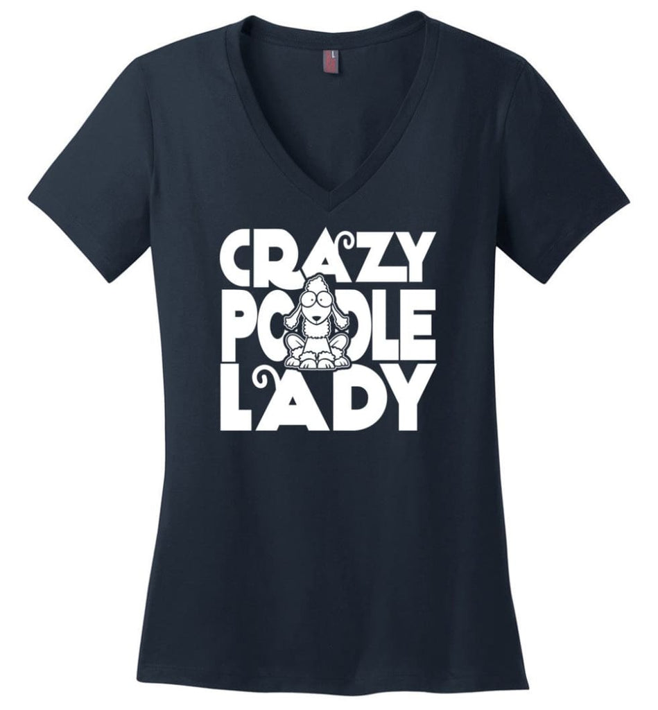 Crazy Poodle Lady Sweater Funny Dog Poodle sweatshirt for Women - Ladies V-Neck - Navy / M