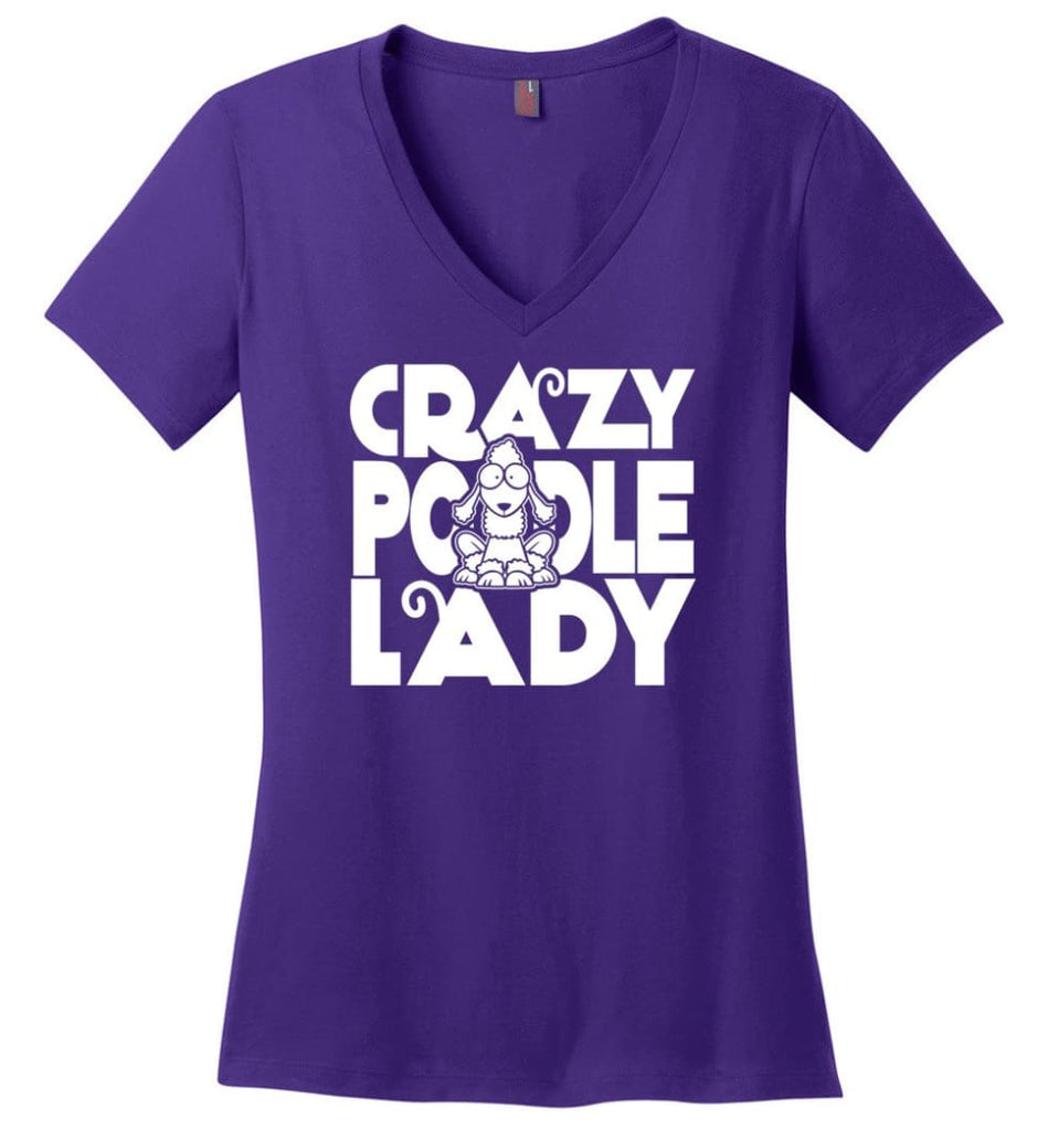Crazy Poodle Lady Sweater Funny Dog Poodle sweatshirt for Women - Ladies V-Neck - Purple / M