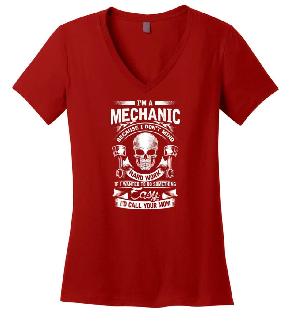 Curious Enough To Take It Apart Skilled Mechanic T Shirt Ladies V-Neck - Red / M