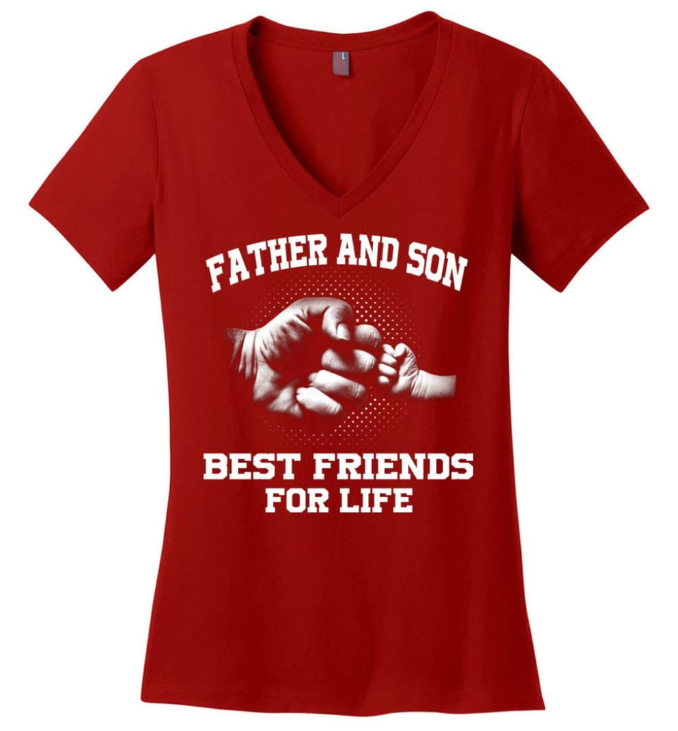 Dad The Man Myth The Legend Christmas Gift For Dad Father Ladies V-Neck - Red / M