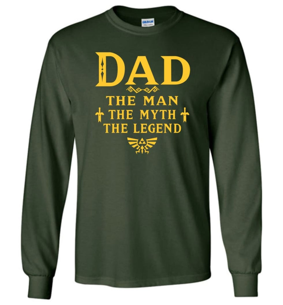 Dad The Man Myth The Legend Christmas Gift For Dad Father Long Sleeve - Forest Green / M