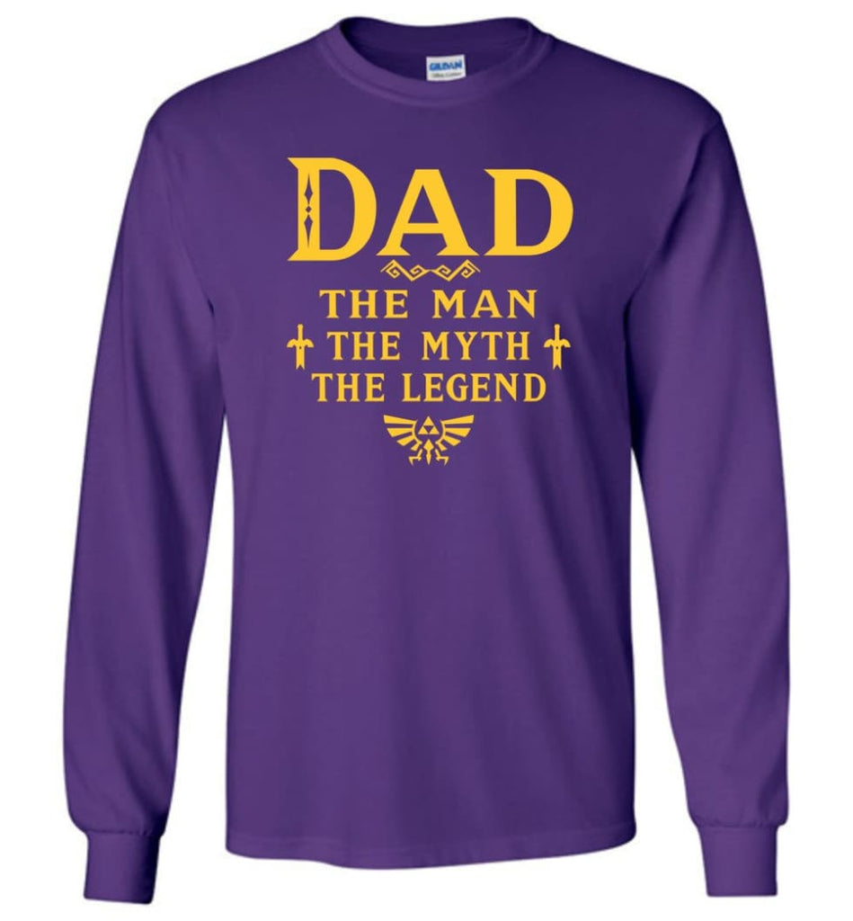 Dad The Man Myth The Legend Christmas Gift For Dad Father Long Sleeve - Purple / M