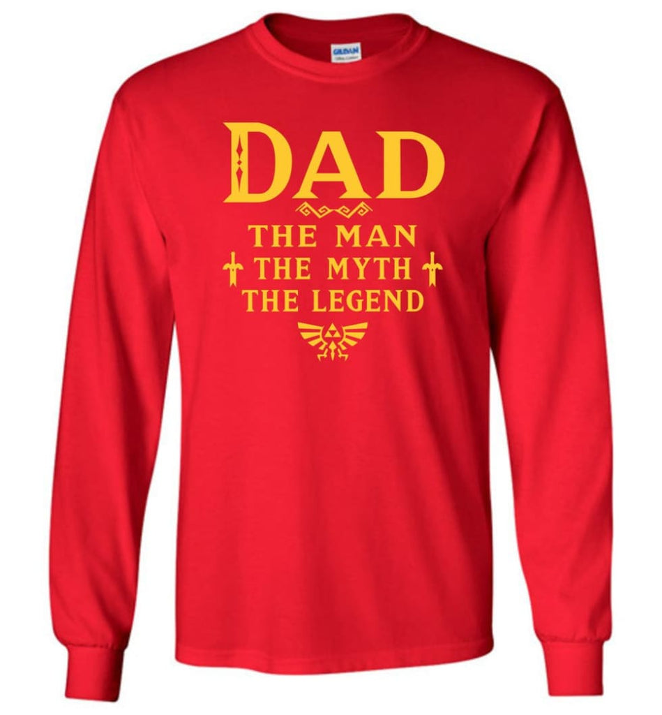 Dad The Man Myth The Legend Christmas Gift For Dad Father Long Sleeve - Red / M