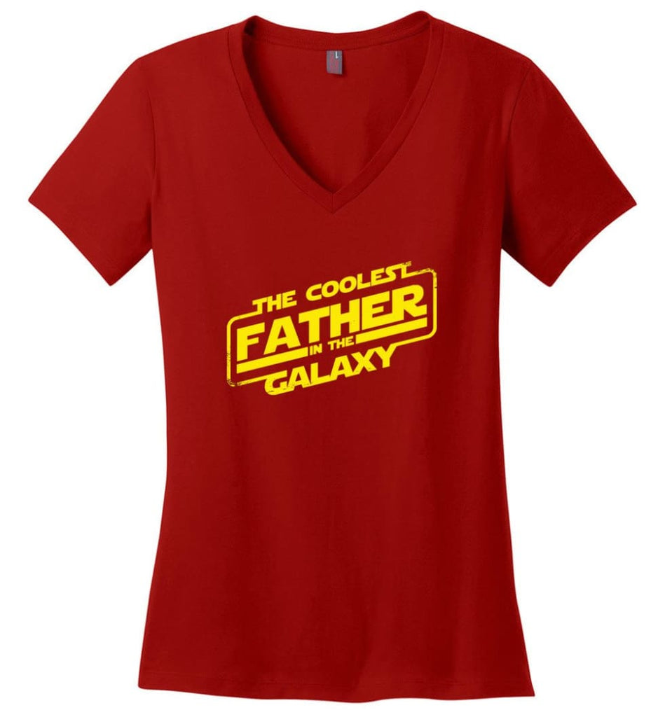 Daddy Favourite Jedi Daddy Shirt For Father's Day Ladies V-Neck - Red / M