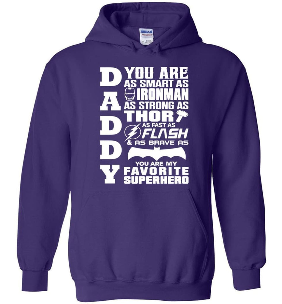 Daddy Superhero Shirt Daddy Shirt For Father's Day Hoodie - Purple / M