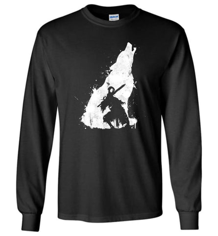 Dark Sou ls II T shirt Sif The Great Grey Wolf Dark Souls 2 Long Sleeve T-Shirt - Black / M