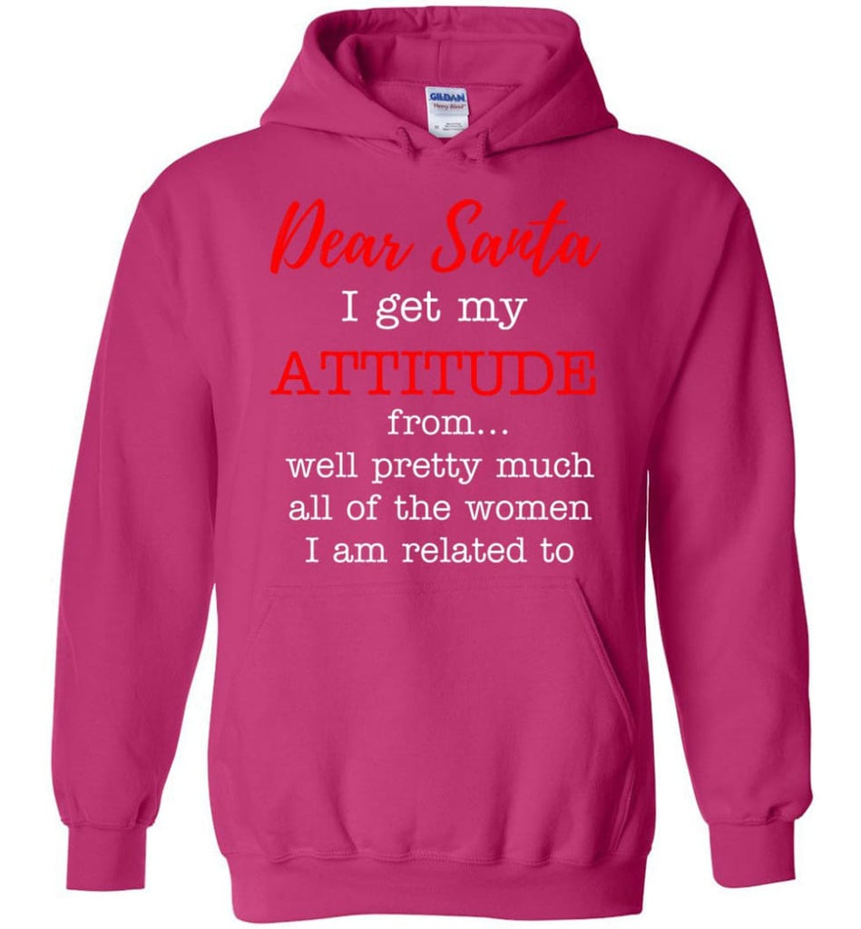 Dear Santa I Get My Attitude From Well Christmas Gift Hoodie - Heliconia / M