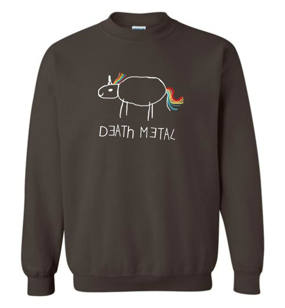 Death Metal Unicorn Shirt Death Metal Rainbow Hoodie Sweatshirt Sweatshirt - Dark Chocolate / M