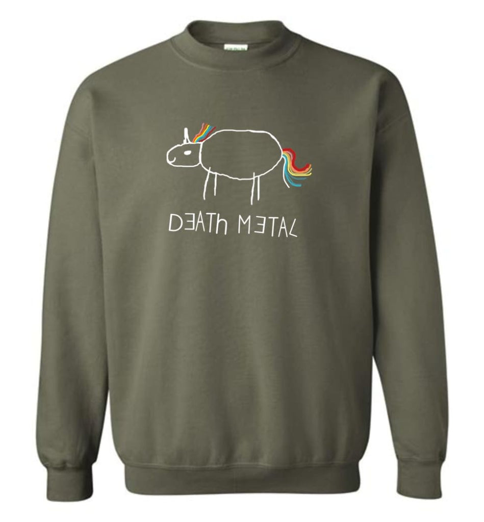 Death Metal Unicorn Shirt Death Metal Rainbow Hoodie Sweatshirt Sweatshirt - Military Green / M