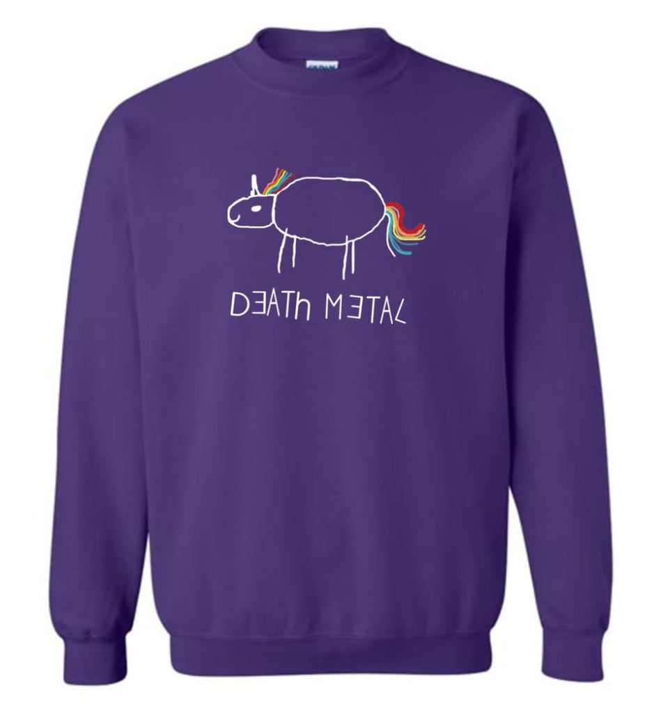 Death Metal Unicorn Shirt Death Metal Rainbow Hoodie Sweatshirt Sweatshirt - Purple / M