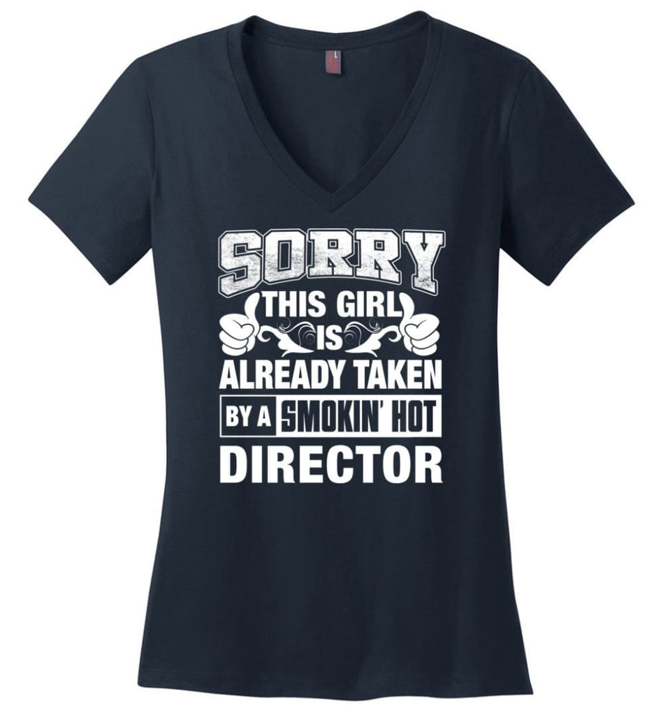 DESIGNER Shirt Sorry This Girl Is Already Taken By A Smokin' Hot Ladies V-Neck - Navy / M - 9