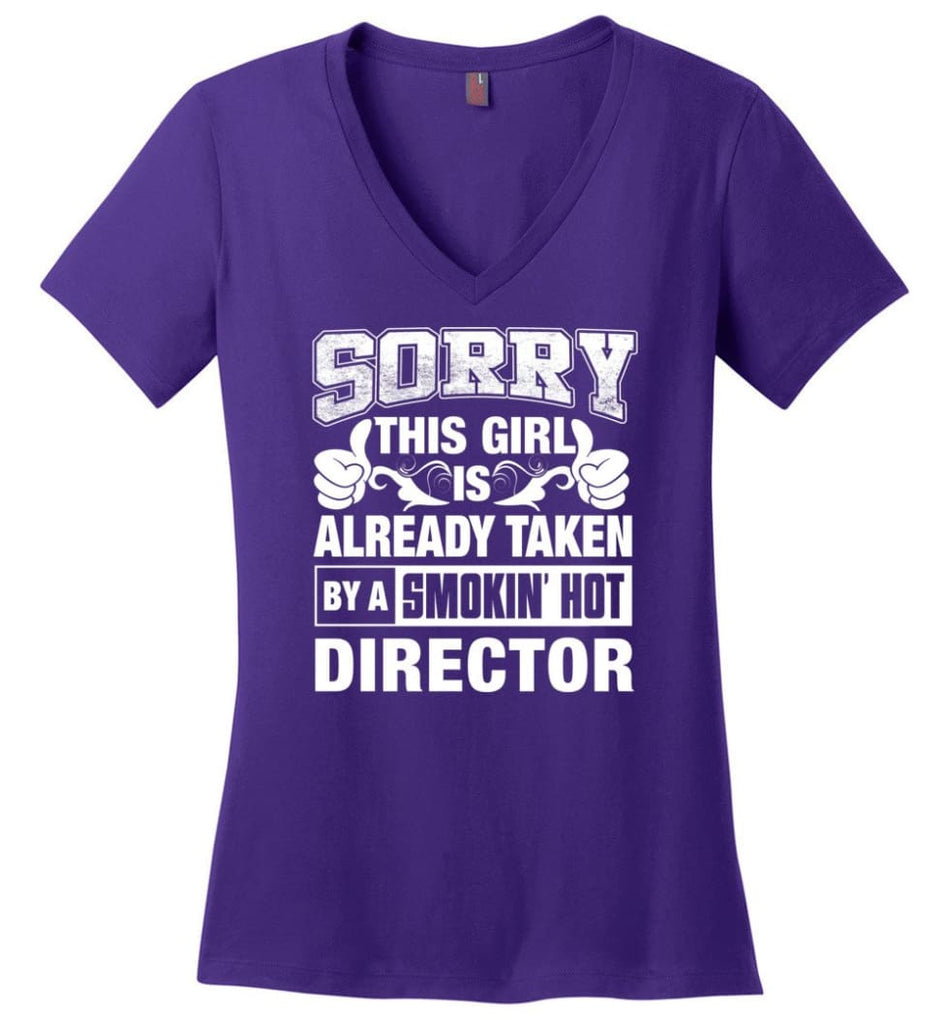 DESIGNER Shirt Sorry This Girl Is Already Taken By A Smokin' Hot Ladies V-Neck - Purple / M - 9
