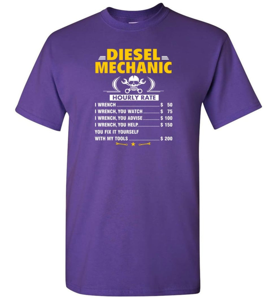 Diesel Mechanic Hourly Rate - Short Sleeve T-Shirt - Purple / S