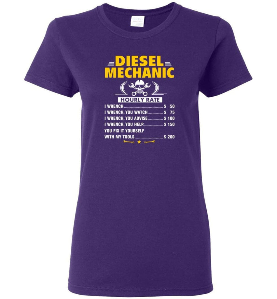 Diesel Mechanic Hourly Rate Women Tee - Purple / M